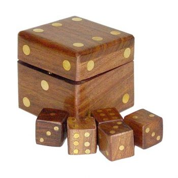 Small dice box with 5 dice | TradeAid