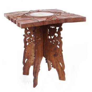 Square sheeshamwood table with carved top | TradeAid