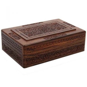 Carved wooden jewellery box with velvet lining and internal tray | TradeAid