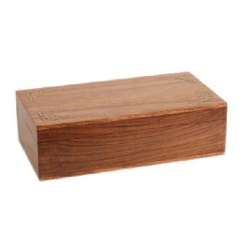 Medium sheesham wood box with brass edge & secret lock | TradeAid