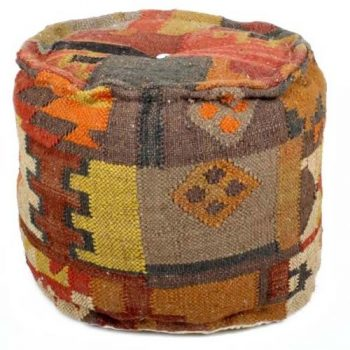 Dhurrie design footstool | TradeAid