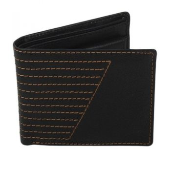 Black leather wallet with stitch design | TradeAid