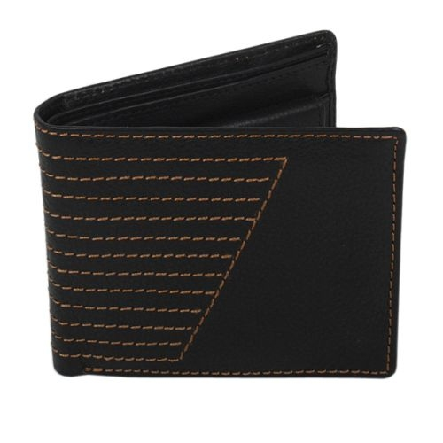 Black leather wallet with stitch design   TradeAid