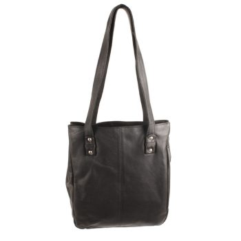 Black leather shoulder bag | TradeAid