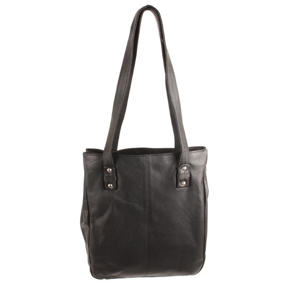 Black leather shoulder bag   TradeAid