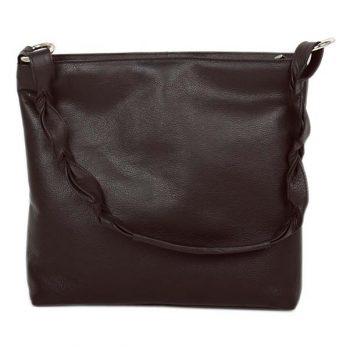 Dark brown leather shoulder bag with plaited strap | TradeAid