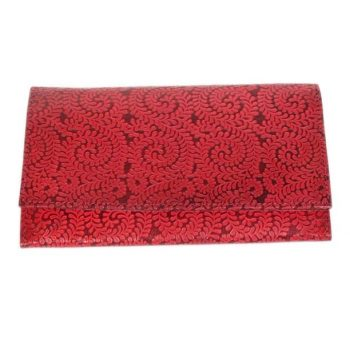 Red paisley leather wallet | TradeAid