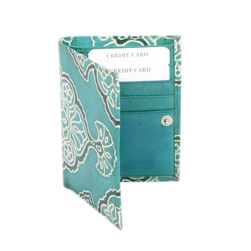 Teal leather card holder   TradeAid