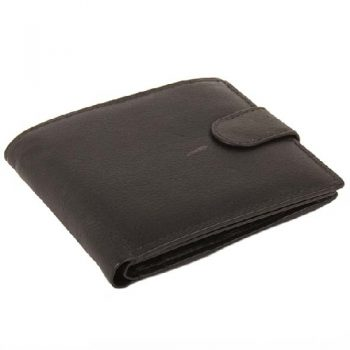 Black leather wallet with dome closure | TradeAid