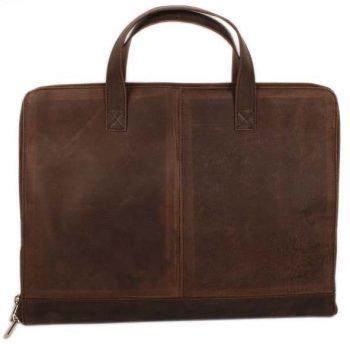 Dark brown hunter leather laptop bag | TradeAid