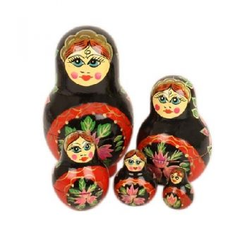 Red and black woman nesting dolls | TradeAid