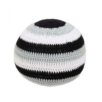 Crochet ball with black white and grey stripes | TradeAid