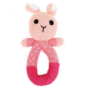 Pink crochet bunny rattle | TradeAid