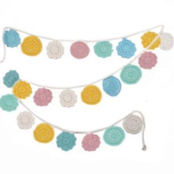 Cotton crochet circle design pastel colour bunting | TradeAid