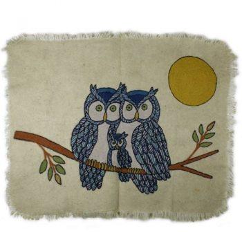 Felted owl design numdha rug | TradeAid