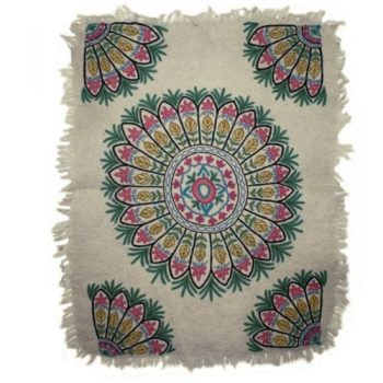 Felted circle leaf design numdha rug | TradeAid