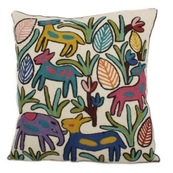 Cotton and wool white cushion cover with animal design   TradeAid