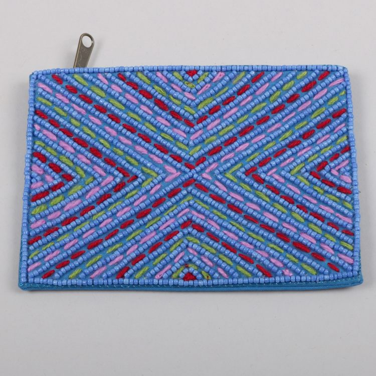 Cotton purse with blue bead embroidery | TradeAid