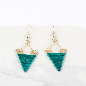 Teal threadwork earrings   TradeAid