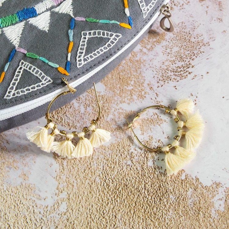 Hoop earrings with white tassels | TradeAid