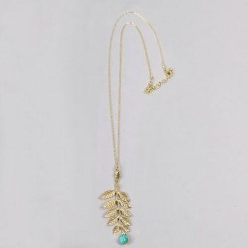 Golden colour brass leaf necklace with stone | TradeAid