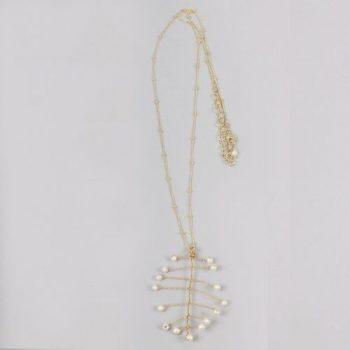 Golden colour brass leaf shape pendant necklace | TradeAid