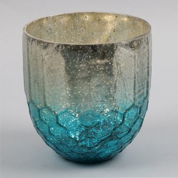 Teal and silver honeycomb design bowl | TradeAid