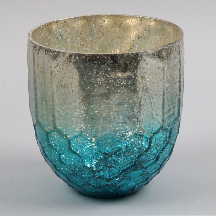 Teal and silver honeycomb design bowl   TradeAid