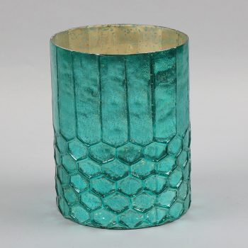 Turquoise and gold honey comb vessel | TradeAid