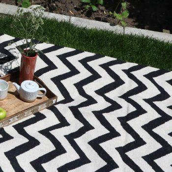 X-large black and white zigzag rug | TradeAid