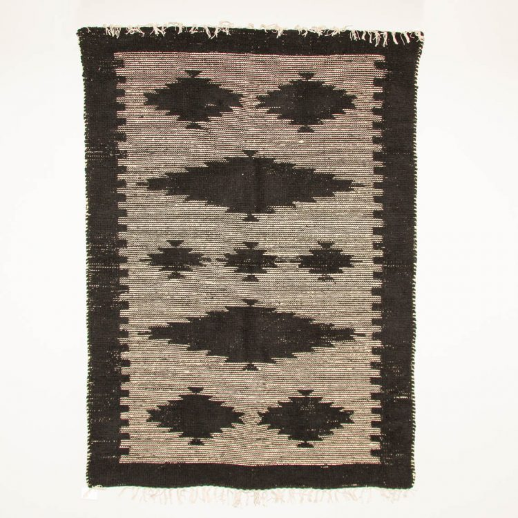 Large black and white cotton rug | TradeAid