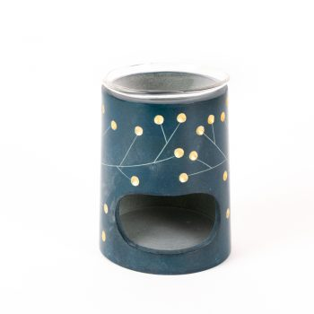 Turquoise colour painted stone aroma lamp | TradeAid