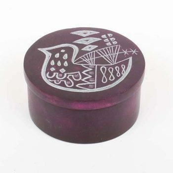 Round stone box with bird design | TradeAid