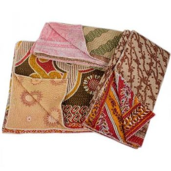 Quilted kantha 7 layer throw   TradeAid