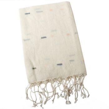 White cotton scarf with blue and pink lines | TradeAid