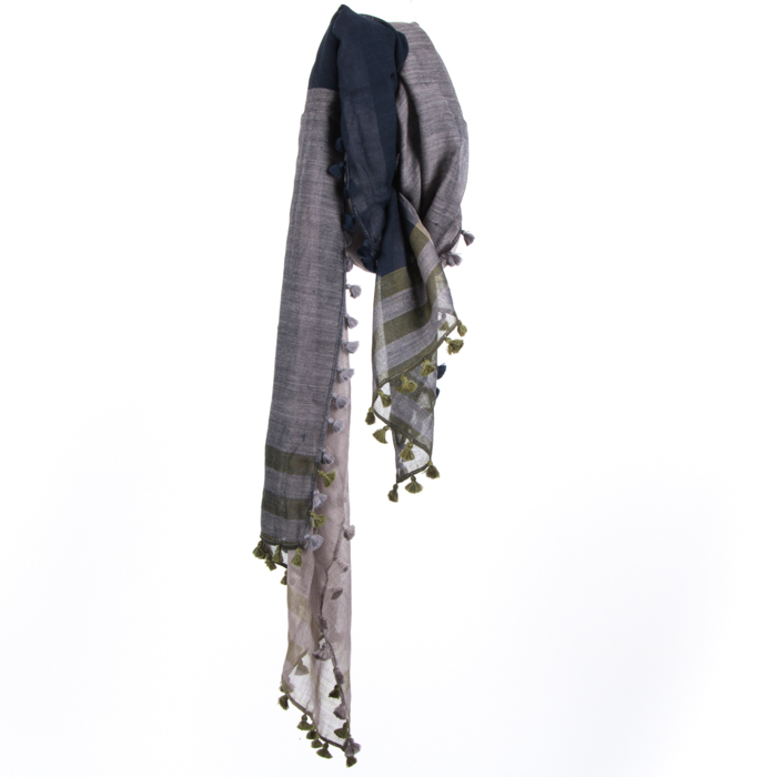 Blue and green woollen stole   TradeAid