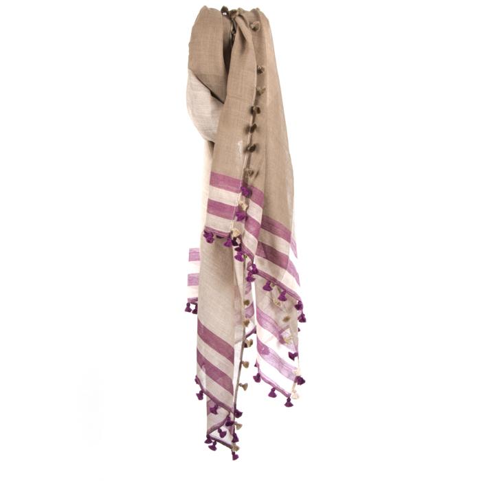 Beige and purple woollen stole | TradeAid