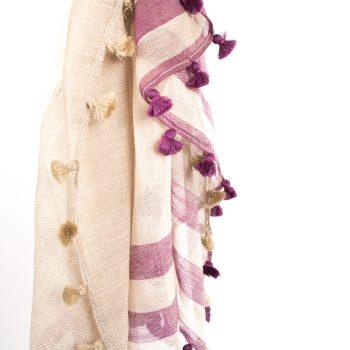 Beige and purple woollen stole | Gallery 1 | TradeAid