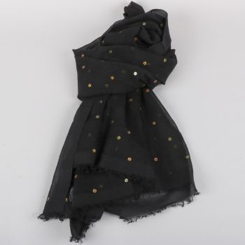 Black scarf with gold sequin | TradeAid