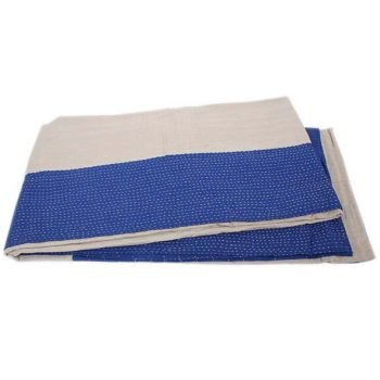 Navy and taupe reversible cotton bedcover | TradeAid