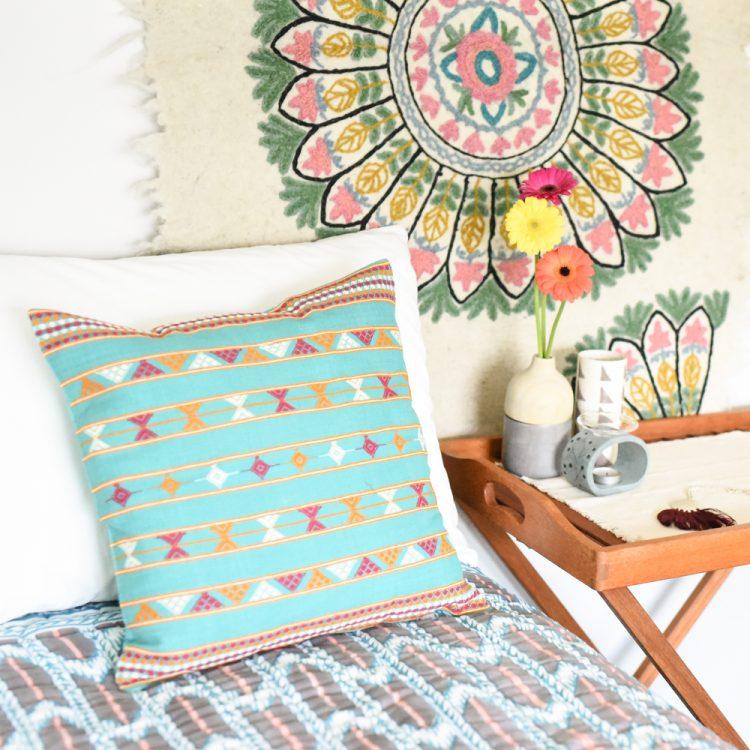 Green cotton komal cushion cover   TradeAid