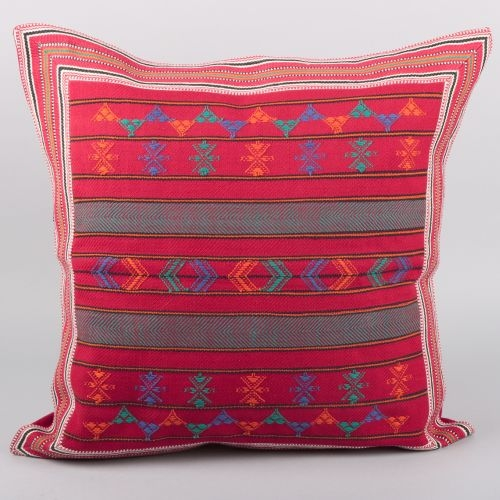 Red sunil cotton cushion cover with border | TradeAid