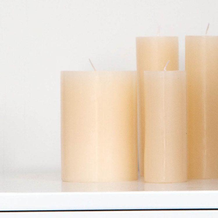 Natural thin pillar candle   TradeAid