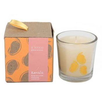 Kerala mango lassi scented candle in glass pot | TradeAid