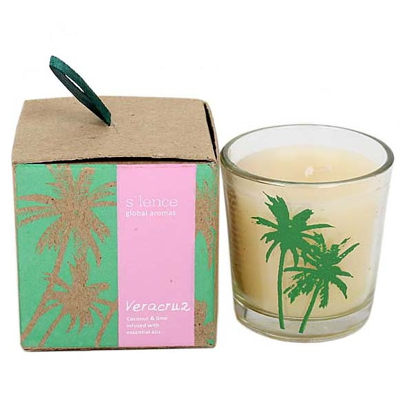 Small veracruz coconut and lime scented candle in glass pot | TradeAid