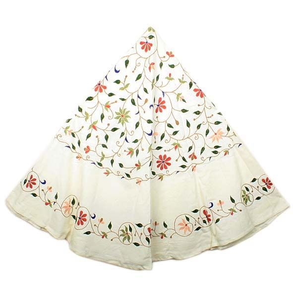 Round cream tablecloth with floral design | TradeAid