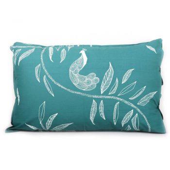 Leaf and peacock print pillowcase | TradeAid