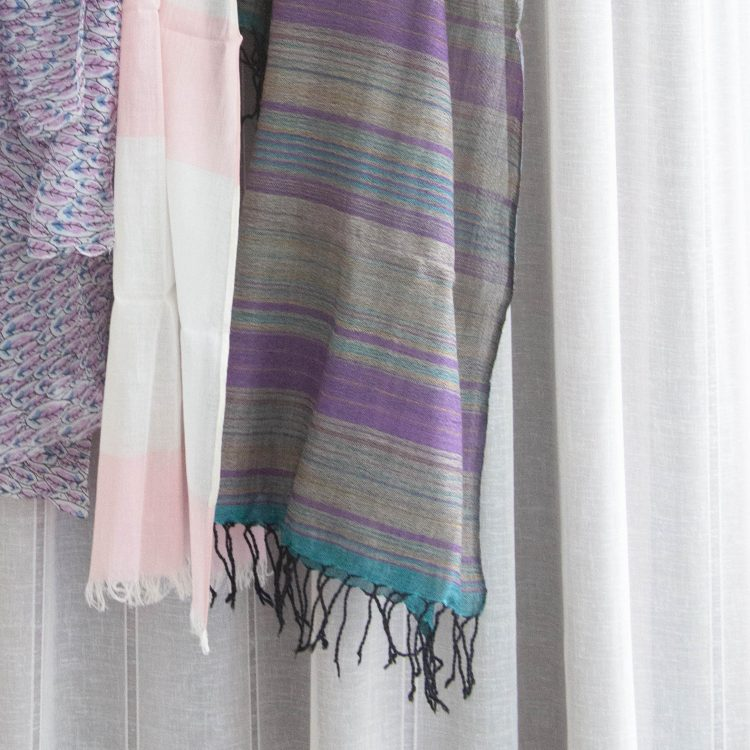 Grey and purple wool scarf | Gallery 2 | TradeAid