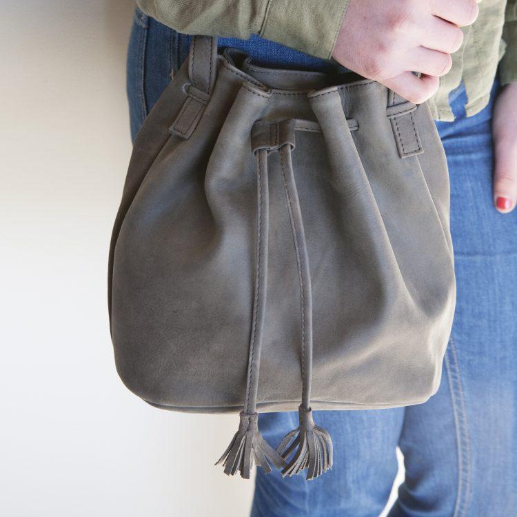 Leather drawstring shoulder bag | TradeAid