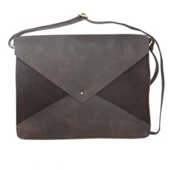 Dark brown suede and leather envelope satchel | TradeAid